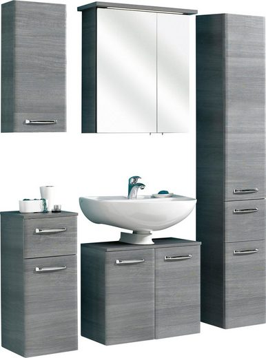 PELIPAL Badmöbel-Set »Alika«, (5-St), Spiegelschrank inkl. LED-Beleuchtung, Metallgriffe, Türdämpfer, Glaseinlegeböden