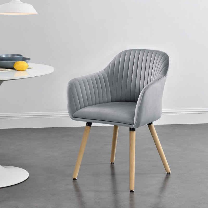 en.casa Polsterstuhl, »Dover« Esszimmerstuhl Sessel mit Armlehne in verschiedenen Farben
