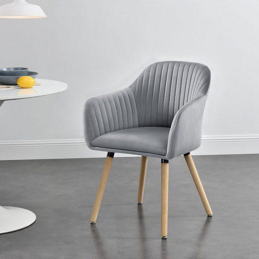 en.casa Polsterstuhl »Dover« Esszimmerstuhl Sessel mit Armlehne in verschiedenen Farben
