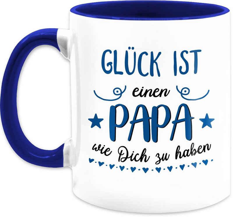 Shirtracer Tasse »Glück ist einen Papa wie dich zu haben Dunkelblau - Vatertagsgeschenk Tasse - Tasse zweifarbig«, Keramik