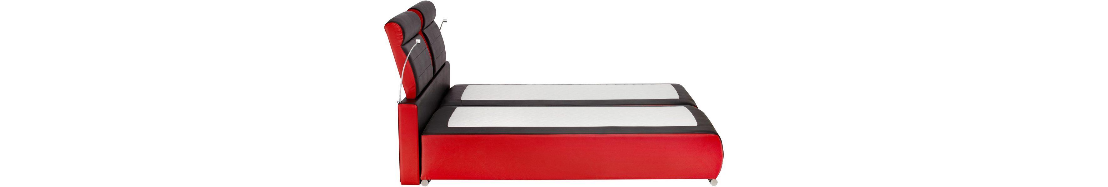 Collection AB Boxspringbett rot schwarz Seitenansicht