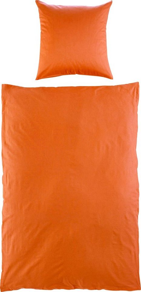 Bettwäsche, Ecorepublic Home, »Ivy«, einfarbig gehalten in orange
