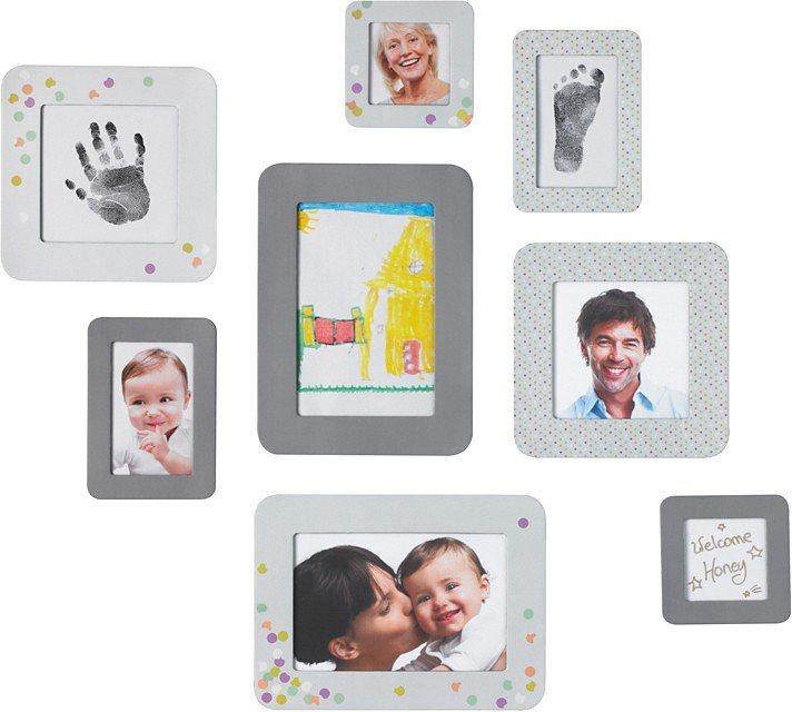 Baby Art Kleberahmen, 6er Pack in grau