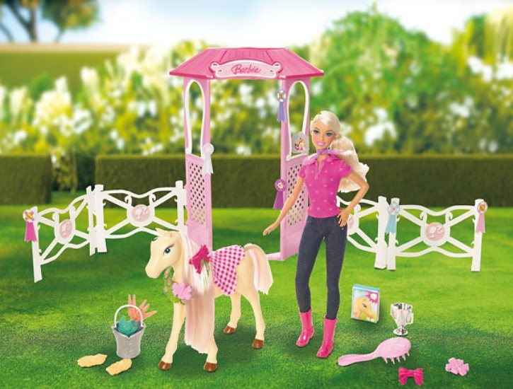 Mattel BARBIE Stall Spielset inkl. Fohlen und Puppe
