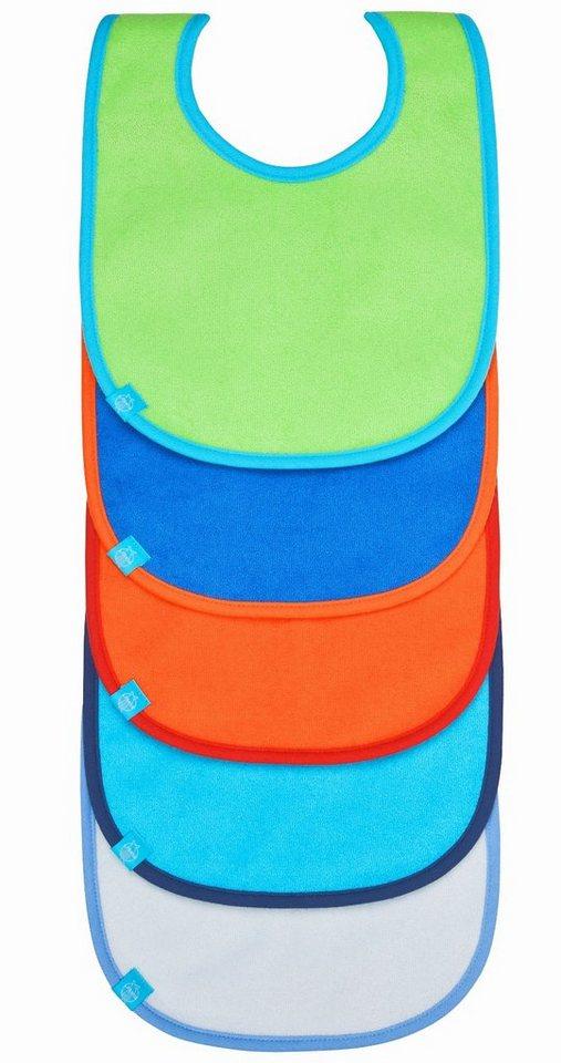 Lässig Lätzchen solid color, mit Klettverschluss, 5er Set in grün+orange+hellblau