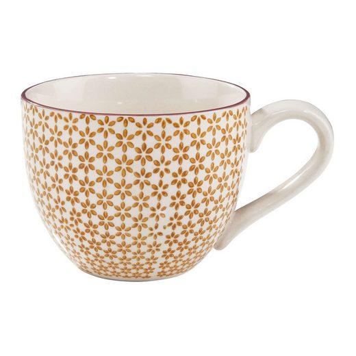 BUTLERS Tasse »RETRO Tasse«, Porzellan, Kaffeetasse 550ml - Retromuster - aus Porzellan