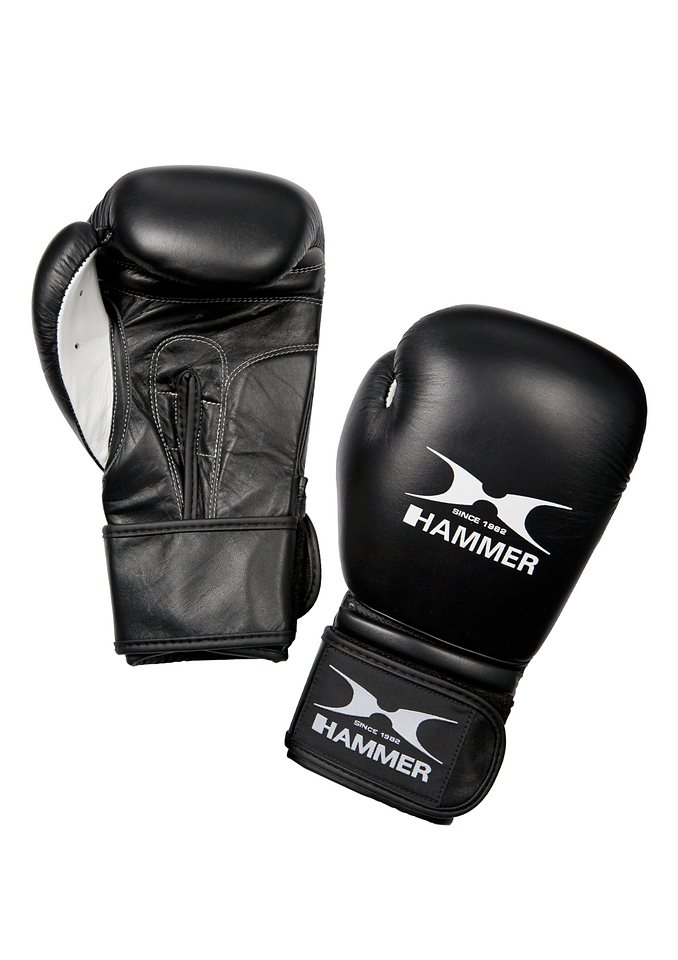 Boxhandschuhe, Rindsleder, schwarz-weiss, »Premium Fight«, Hammer® in schwarz-weiß