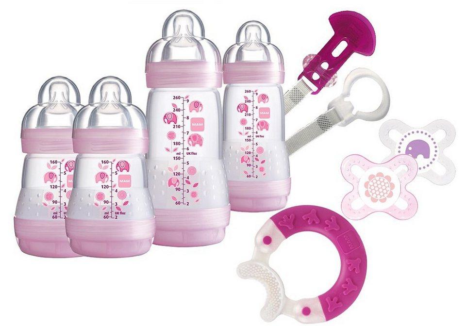 MAM Weithals Flaschen Starterset Anti Colic, 2x160 ml / 2x250 ml in rosa