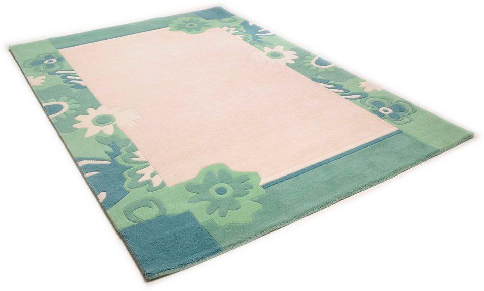 Teppich, Theko, »Hawai 6836«, handgearbeitet, Wolle in grün
