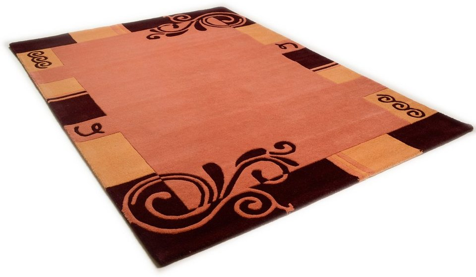 Teppich, Theko, »Hawai 6188«, handgearbeiteter Konturenschnitt, handgetuftet, reine Schurwolle in terracotta