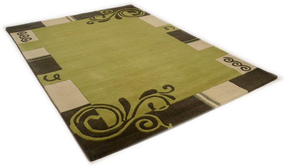Teppich, Theko, »Hawai 6188«, handgearbeiteter Konturenschnitt, handgetuftet, reine Schurwolle in grün