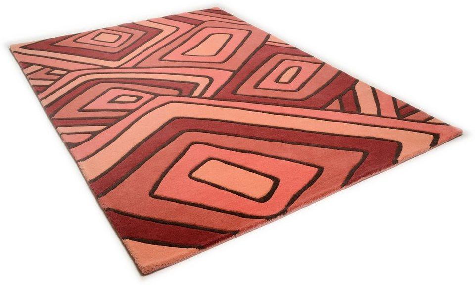 Teppich, Theko, »Como 6839«, handgearbeitet, Wolle in rust
