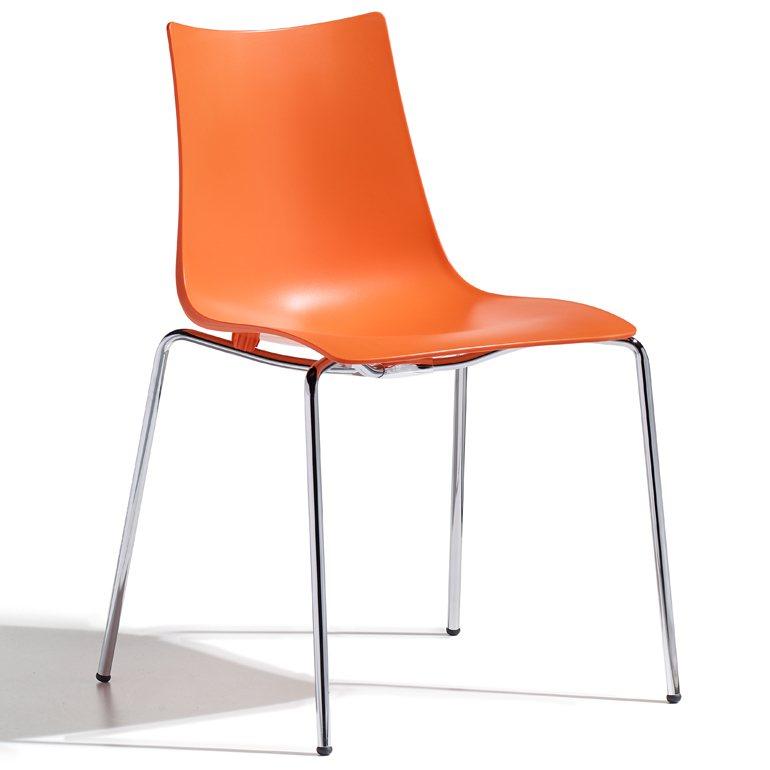 SalesFever Designer Stuhl mit Chrombeinen »Zebra Technopolymer 4 Legs« in orange