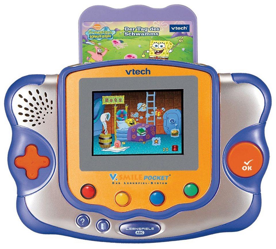 "Vtech V.Smile Pocket Konsole blau-orange inkl. Lernspiel ""SpongeBo"