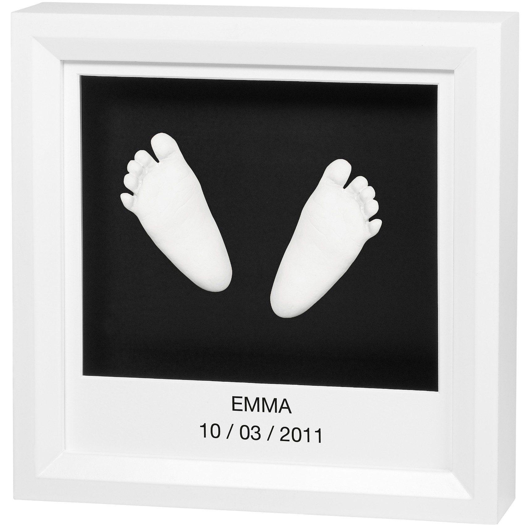 Baby Art 3 D Gipsabdruck mit Bilderrahmen, white/black