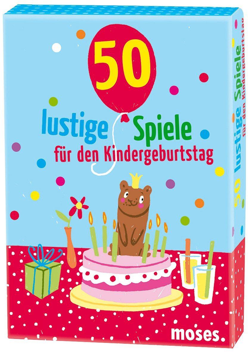 moses 50 lustige Spiele für den Kindergeburtstag Kartenset, Karten