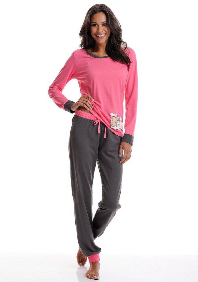 NICI Zweifarbiger Pyjama mit Schäfchenprint in pink-anthrazit