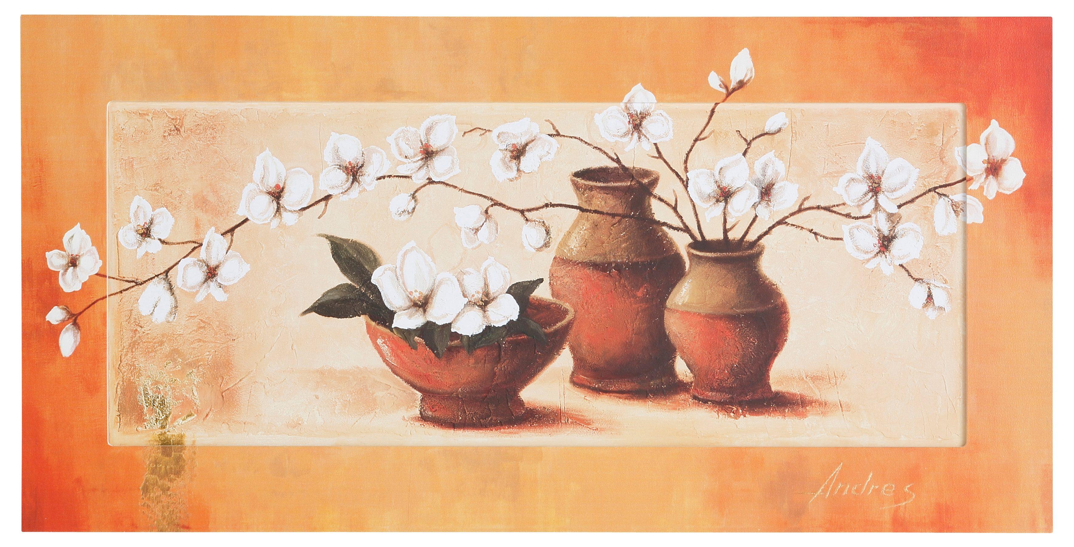 Home affaire, Bild Kunstdruck, »S., A.: Weiße Kirschblüten in roten Vasen II«, 100/50 cm