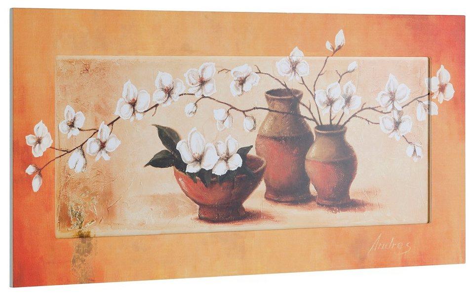 Kunstdruck, Home affaire, »S., A.: Weiße Kirschblüten in roten Vasen II«, 102/52 cm in orange