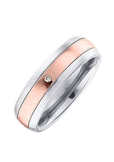 Firetti Trauring mit Gravur »bicolor, mit Diamantschnitt« | Schmuck > Ringe > Ringe mit Gravur | Goldfarben | Firetti