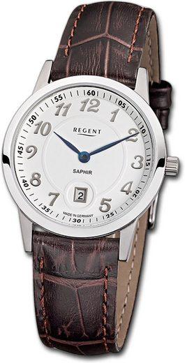 Regent Quarzuhr »D2URGM1406 Regent Leder Damen Uhr GM-1406 Analog«, (Quarzuhr), Damenuhr mit Lederarmband, rundes Gehäuse, mittel (ca. 31mm), Elegant-Style, Made-In Germany