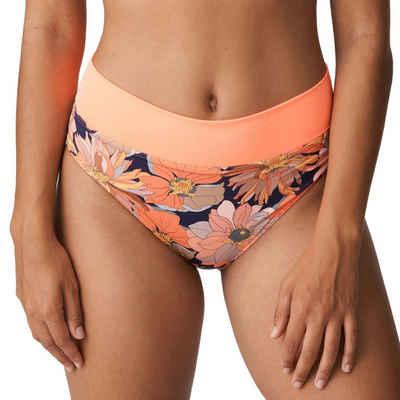 PrimaDonna Bikini-Hose »Melanesia Bikinihose mit Umschlag«, Regulierbare Taillenhöhe, Sommerlicher Blumenprint, Modischer Retro-Look