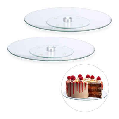 relaxdays Tortenplatte »2 x Drehbare Tortenplatte Glas«, Glas