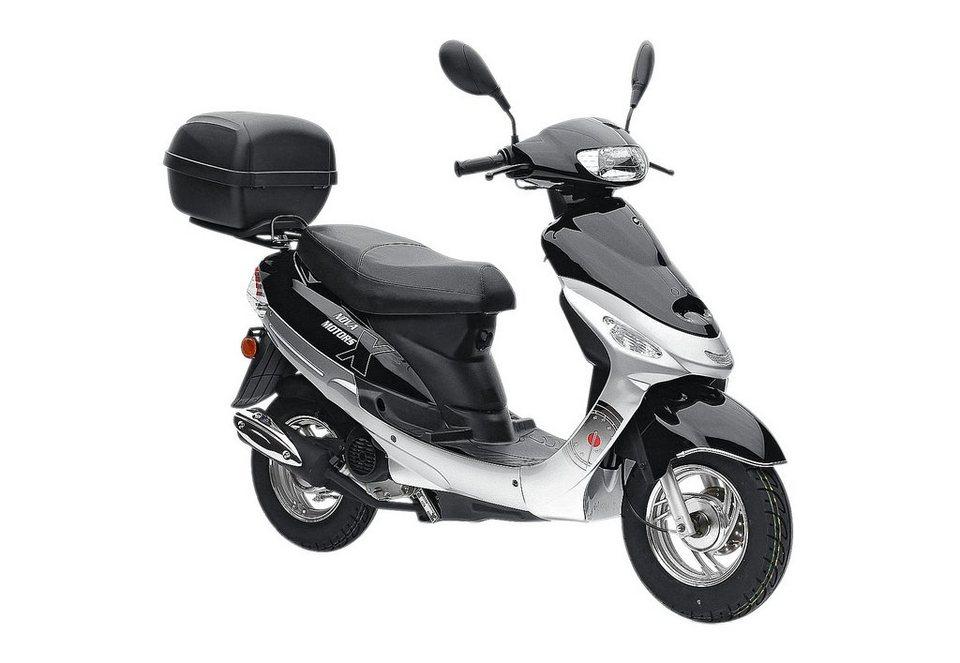 Motorroller-Set inkl. Topcase, Nova Motors, »Eco Fox«, 50 ccm 45 km/h, rot oder silberfarben in silberfarben