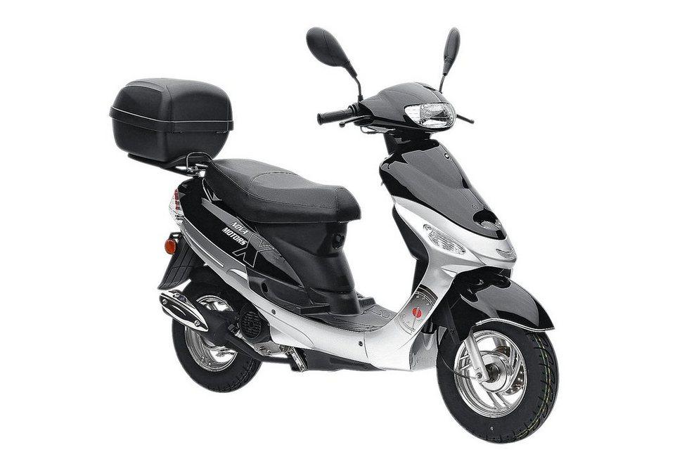 Mofaroller-Set, Nova Motors, »Eco Fox«, 50 ccm 25 km/h, inkl. Topcase, silberfarben oder rot in silberfarben