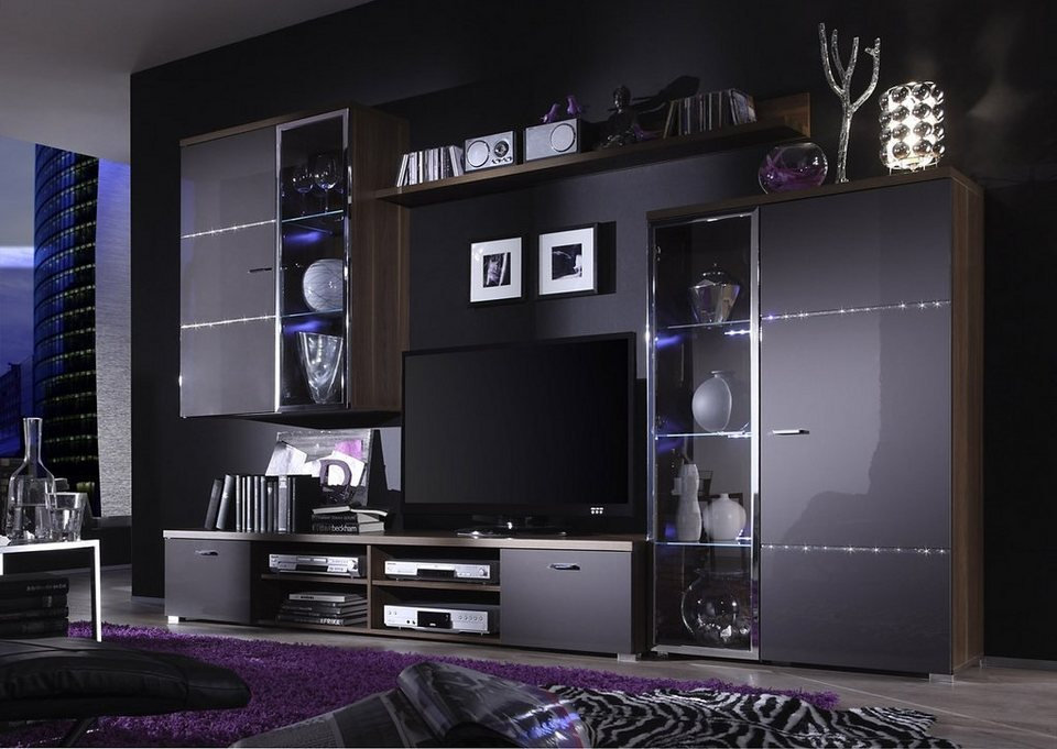 kasper wohndesign wohnwand verziert mit swarovski elements hochglanz anthrazit domingo online. Black Bedroom Furniture Sets. Home Design Ideas