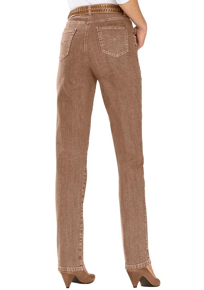 Collection L. Jeans mit festem Bund und Gürtelschlaufen in camel