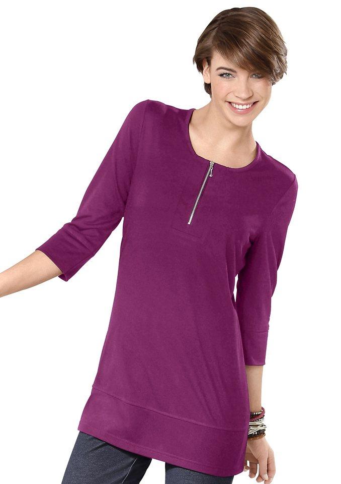 Classic Basics Longshirt mit silberfarbenem Reißverschluss am Ausschnitt in fuchsia