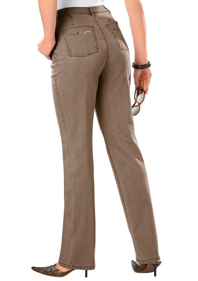 Classic Basics Jeans mit Glitzersteinchen in Wellenform in taupe-denim