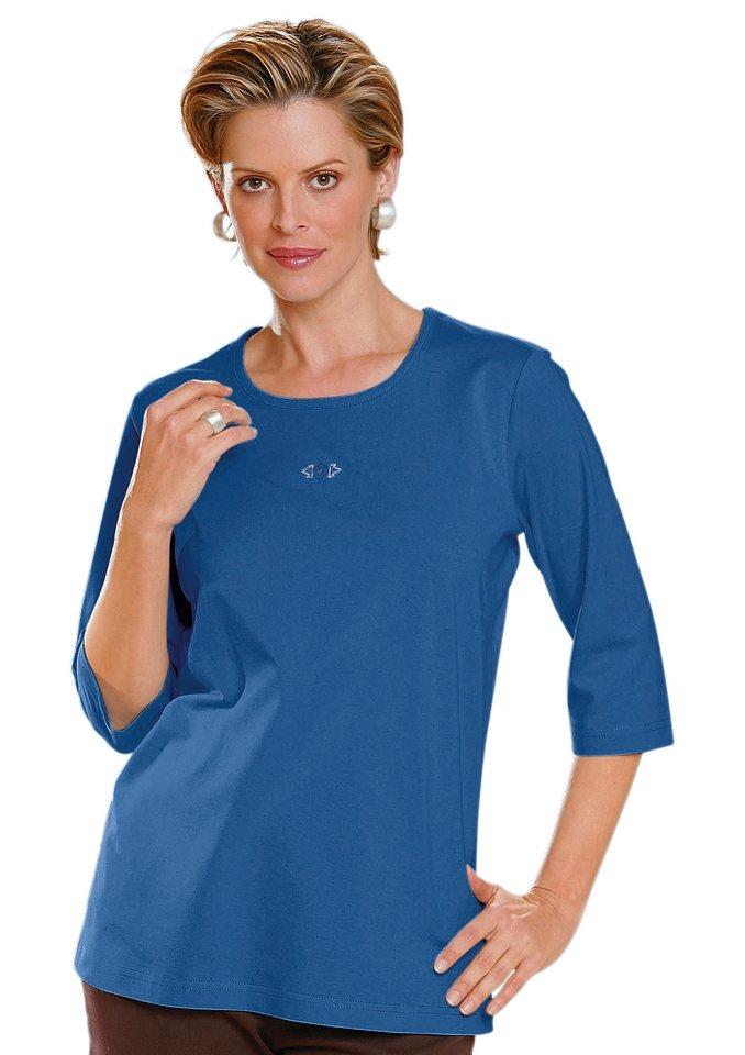 Classic Basics Shirt mit Seitenschlitze in royalblau