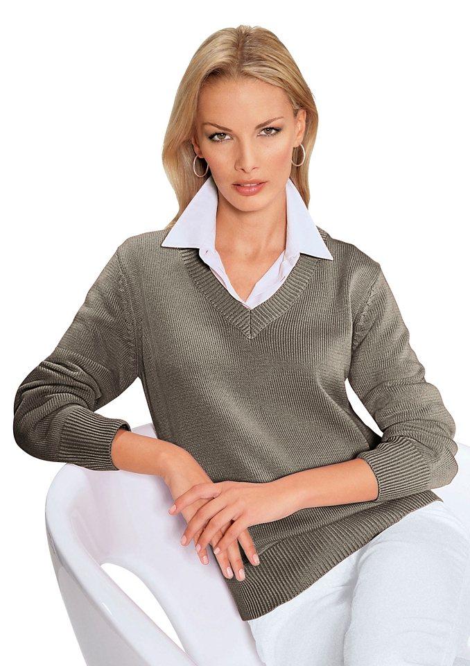 Collection L. Pullover mit streckendem V-Ausschnitt in taupe-meliert