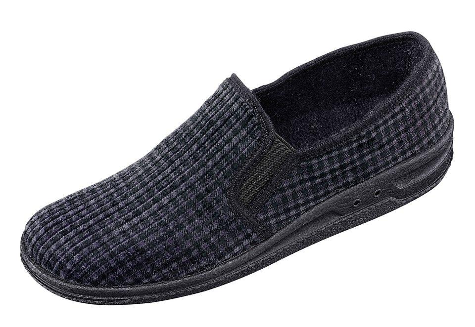 PANTO FINO Hausschuh mit anatomisch geformtem Fußbett in schwarz-grau