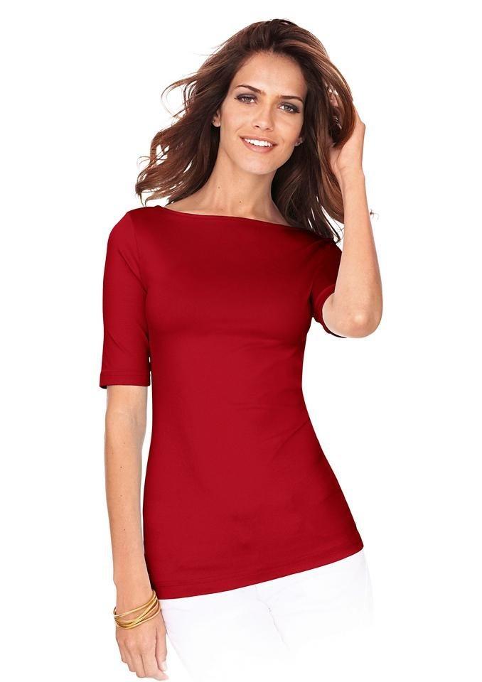 Lady Shirt mit U-Boot-Ausschnitt in rot