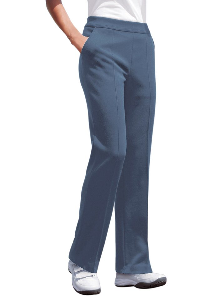 Schneider Sportswear Jersey-Freizeithose mit Rundum-Dehnbund in mittelblau-meliert