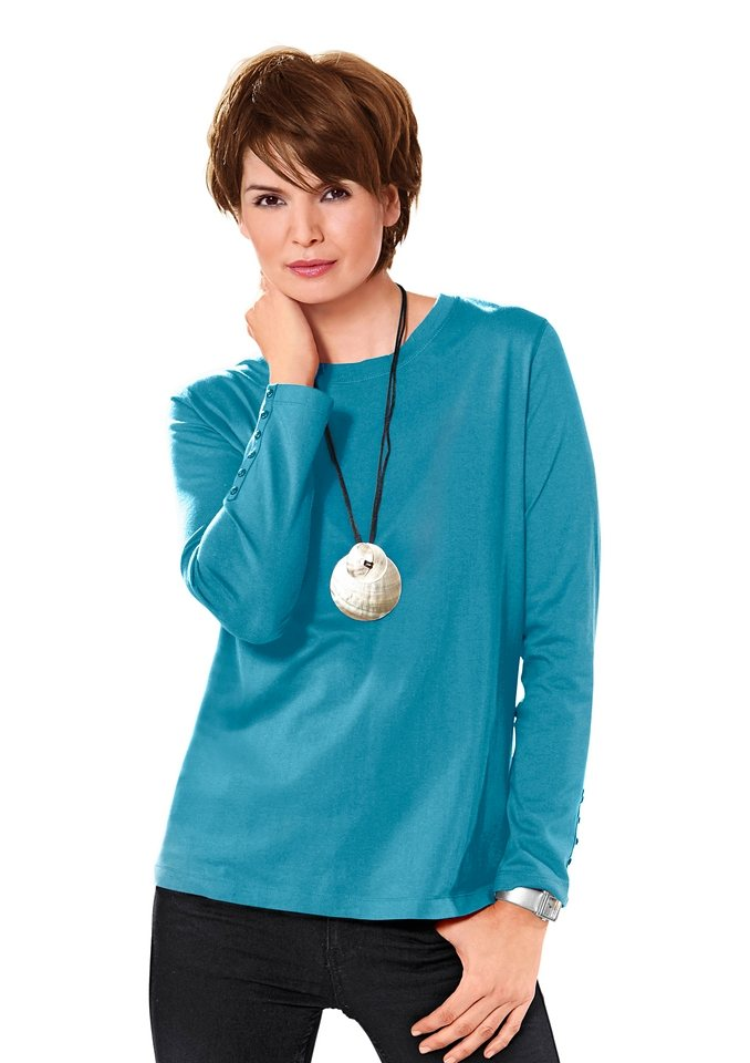 Classic Basics Shirt mit Zierknopfleiste an beiden Ärmeln in türkis