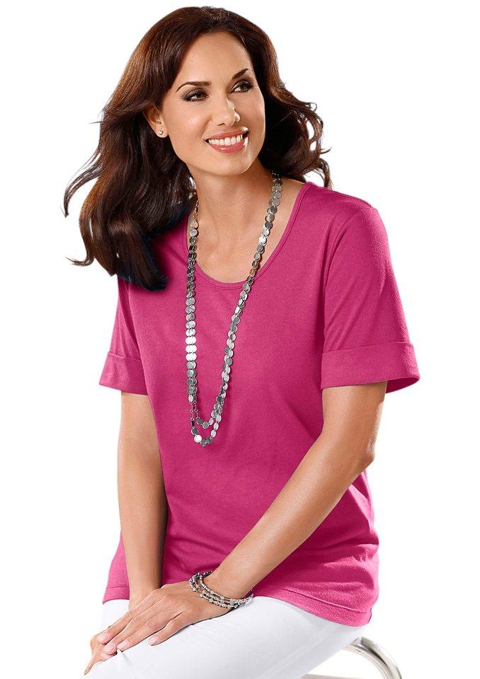 Classic Basics Shirt mit Ärmelabschluss mit fixiertem Aufschlag in cyclam
