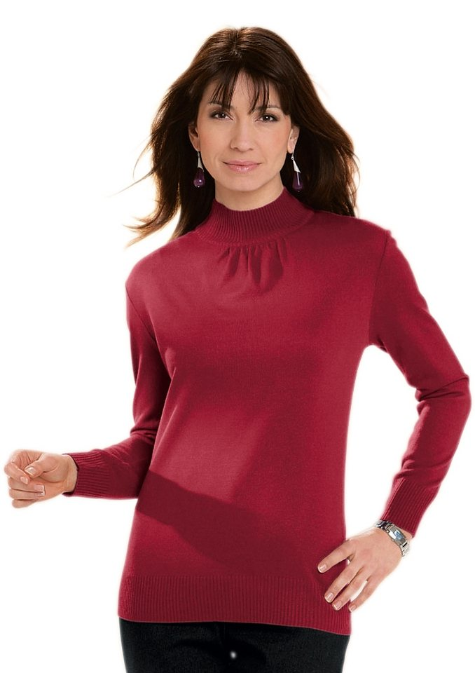 Classic Basics Pullover mit Stehkragen in rot