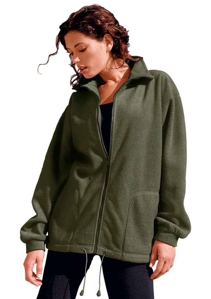Collection L. Fleece-Jacke in grün