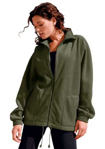 Collection L. Fleece-Jacke mit gesteppten Ziernähten
