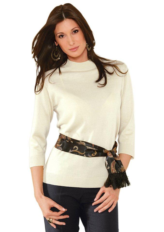 Classic Basics Pullover mit Rippe am Stehkragen in wollweiß