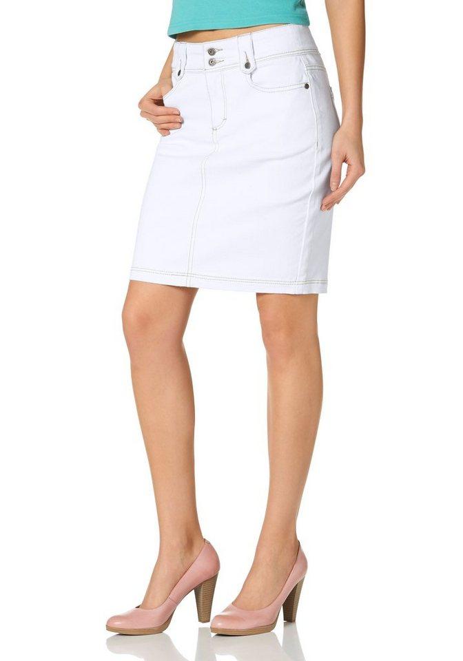 Arizona Jeansrock »Pencil-Skirt« in weiß
