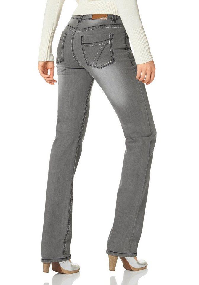 Arizona Gerade Jeans »Kontrastnähte« in grey-used