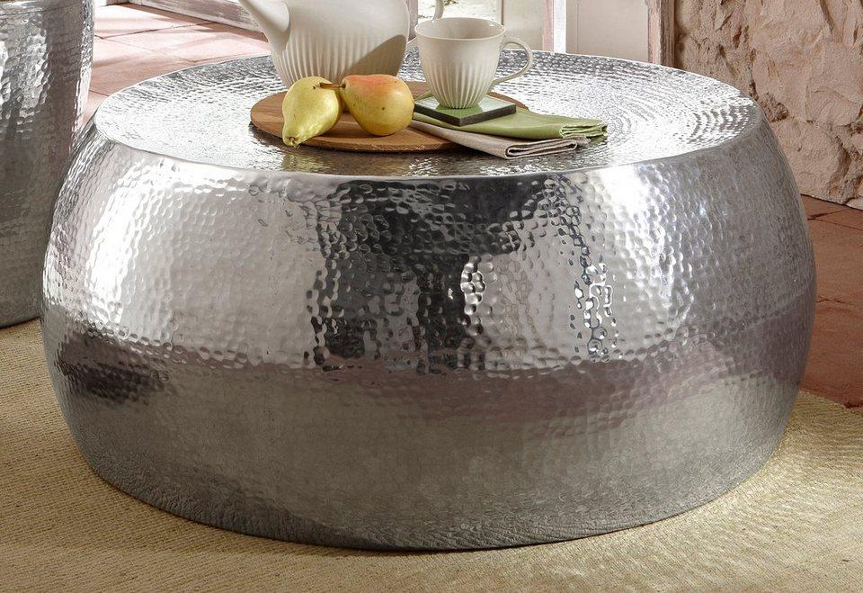 Home affaire, Couchtisch ( Beistelltisch) aus Aluminium in Hammerschlag-Optik in Aluminium