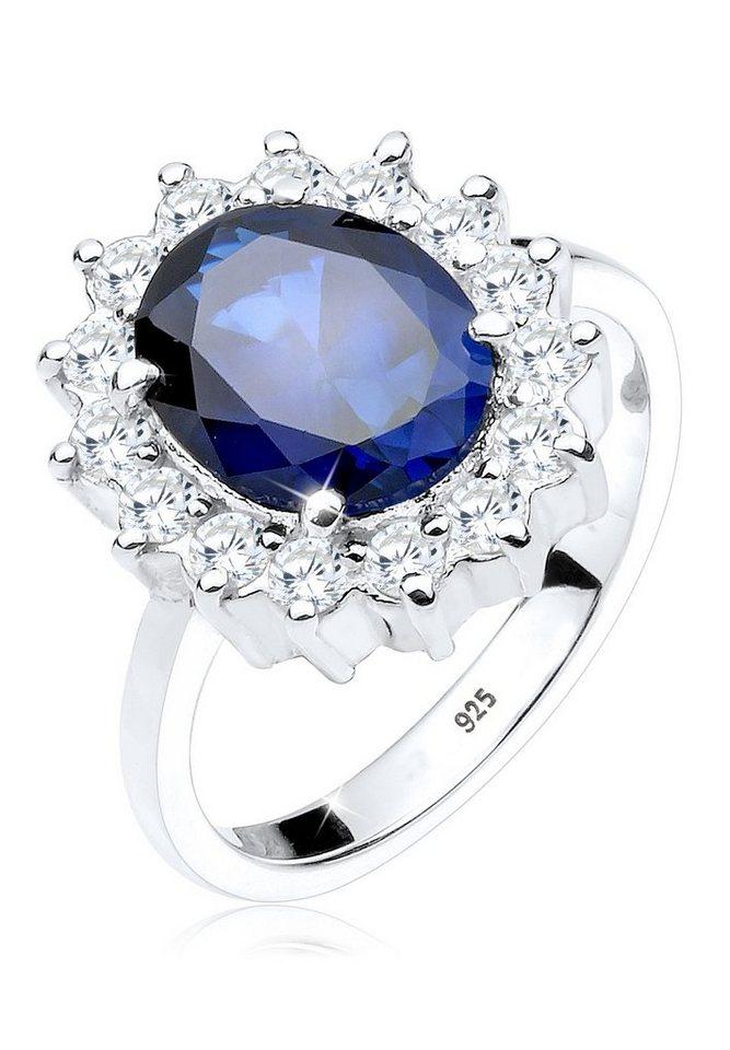 Elli Ring »Cocktailring Saphirblau Zirkonia 925 Silber« in Blau