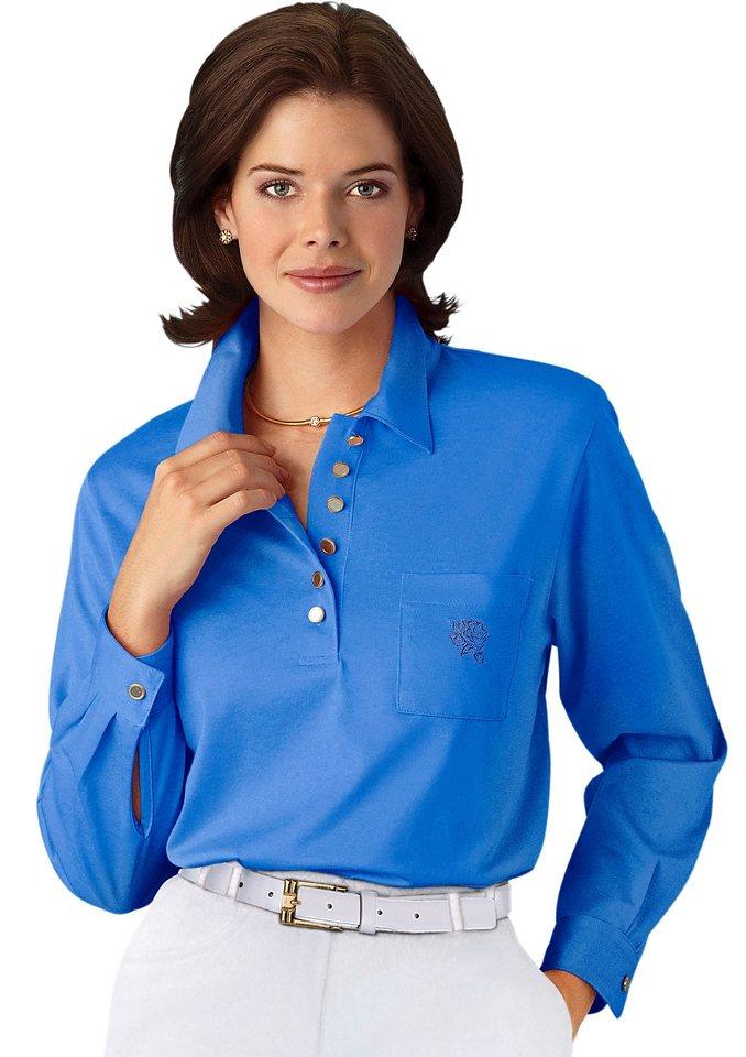 Hajo Langarm-Poloshirt in mittelblau