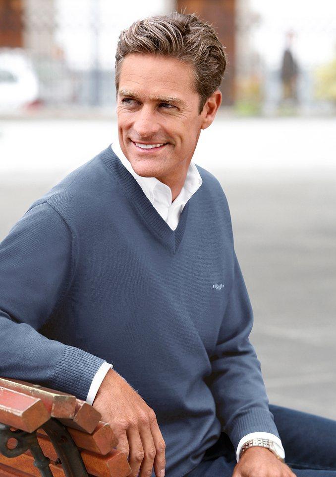 Classic V-Pullover im edlen Feinstrick | Bekleidung > Pullover > V-Pullover | Blau | Schurwolle | Classic